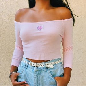 Pink off the shoulder shell top